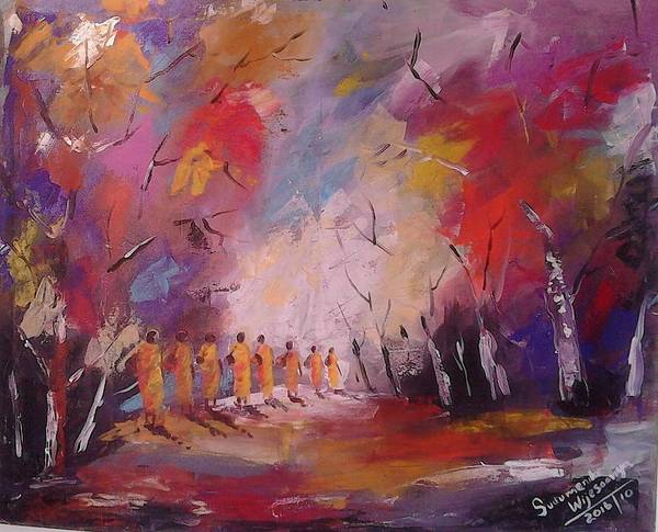 Wall Art - Painting - Towards Nibbana by Sudumenike Wijesooriya