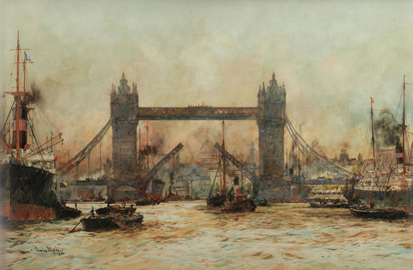 Charles Bridge Painting - Tower Bridge by Charles Edward Dixon