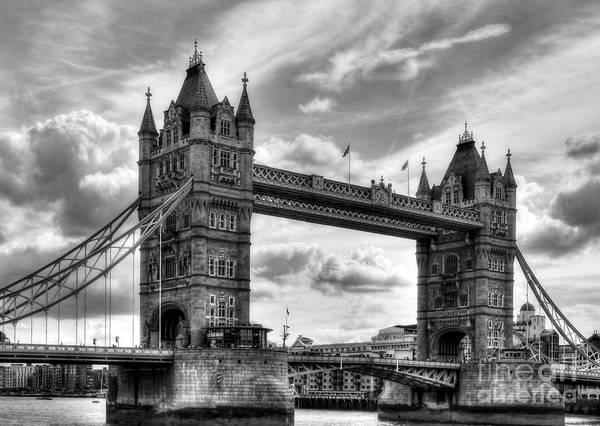 Photograph - Tower Bridge In London Bw by Mel Steinhauer