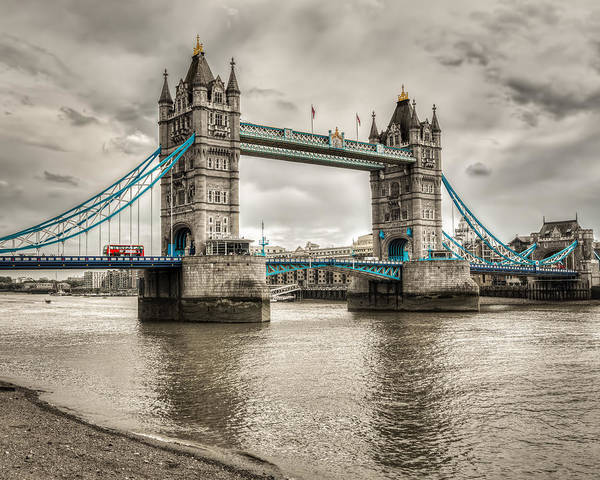 Photograph - Tower Bridge In London In Selective Color by James Udall
