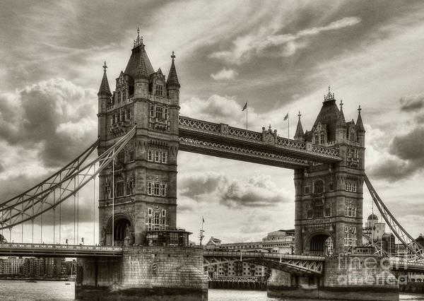 Photograph - Tower Bridge In London Sepia Tone by Mel Steinhauer