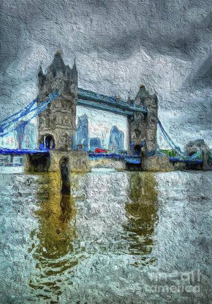 Clock Tower Painting - Tower Bridge, London, Enagland by Mary Bassett