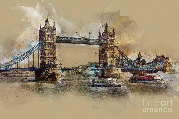 Digital Art - Tower Bridge Of London by Teresa Zieba