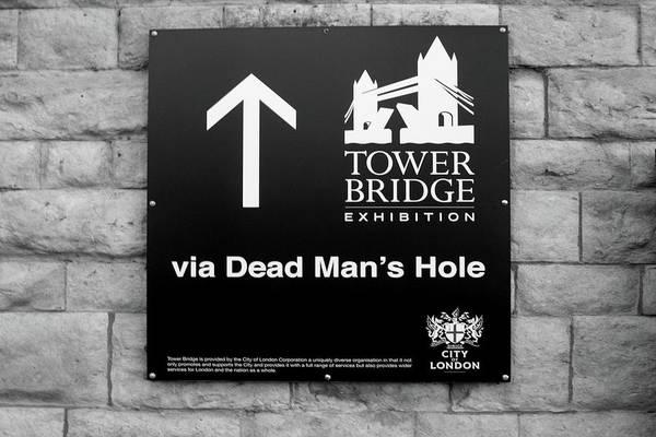 Photograph - Tower Bridge Sign  by Aidan Moran