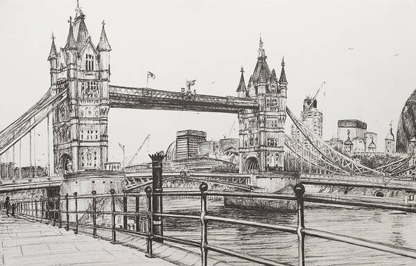 Span Wall Art - Drawing - Tower Bridge by Vincent Alexander Booth