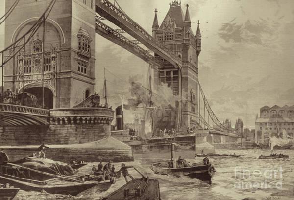 Wall Art - Drawing - Tower Bridge by William Heysham Overend