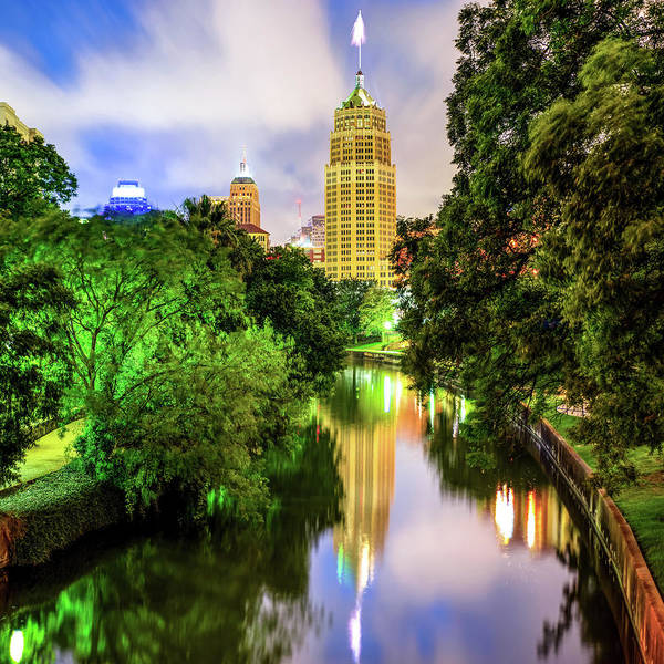 Photograph - Tower Life Building Reflecting On The Riverwalk - San Antonio Texas by Gregory Ballos
