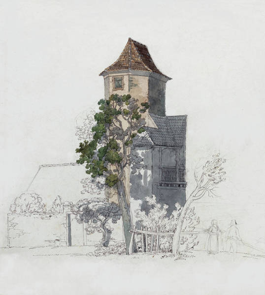 Painting - Tower Of A Fortified House  by Friedrich Salathe