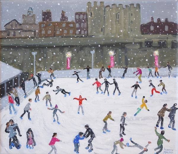Figure Skater Painting - Tower Of London Ice Rink by Andrew Macara
