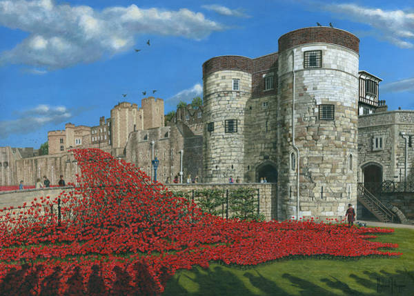 Remembrance Painting - Tower Of London Poppies - Blood Swept Lands And Seas Of Red  by Richard Harpum