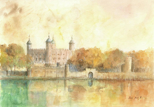 Wall Art - Painting - Tower Of London Watercolor by Juan Bosco