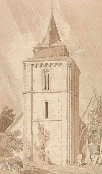 Drawing - Tower Of The Village Church Of Saint Maclou, Normandy by John Sell Cotman