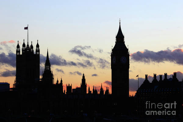 Photograph - Towers Of Houses Of Parliament At Sunset London by James Brunker