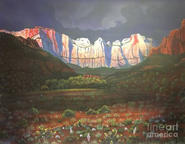 Zion Painting - Towers Of The Virgin Zion by Jerry Bokowski
