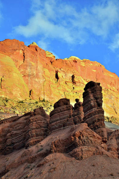 Photograph - Towers Silhouetted Along Scenic Drive In Capitol Reef by Ray Mathis