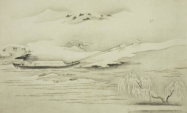 Wall Art - Painting - Towing A Barge In The Snow by Kitagawa Utamaro