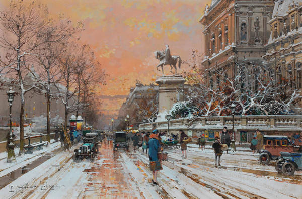 First Snow Wall Art - Painting - Town Hall Under The Snow by Eugene Galien-Laloue