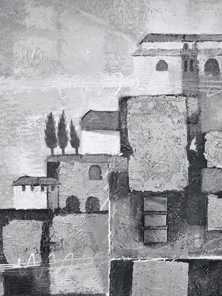 Wall Art - Painting - Town Impression Black And White by Lutz Baar