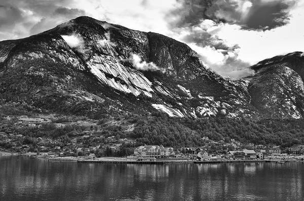 Photograph - Town Ina Fiord In B/w by David Resnikoff