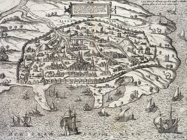 Egypt Drawing - Town Map Of Alexandria In Egypt by Unknown