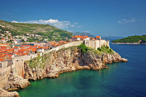 Lokrum Photograph - Town Of Dubrovnik And Stron Defence Walls View by Brch Photography