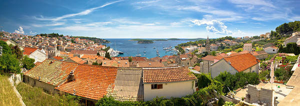 Wall Art - Photograph - Town Of Hvar Old Rooftops Panorama by Brch Photography