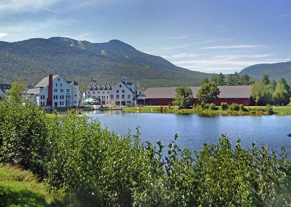 Photograph - Town Square By The Pond At Waterville Valley by Nancy Griswold