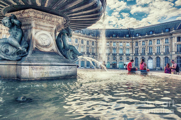 Photograph - Town Square In Bordeaux City - De La Bourse S Founta by Ariadna De Raadt