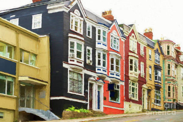 Digital Art - Townhomes In St. Johns, Newfoundland by Les Palenik