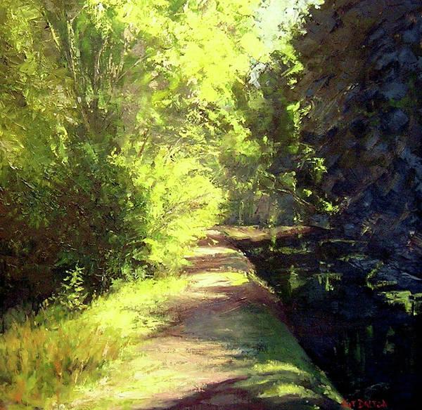 Black Buck Painting - Towpath By The Bridge by Kit Dalton