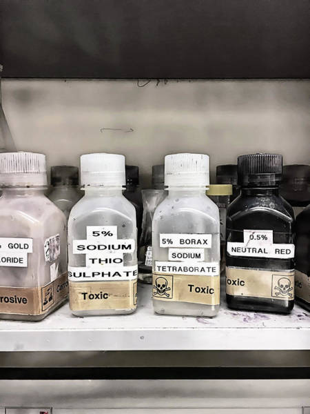 Flammable Photograph - Toxic Lab Chemicals by Tom Gowanlock