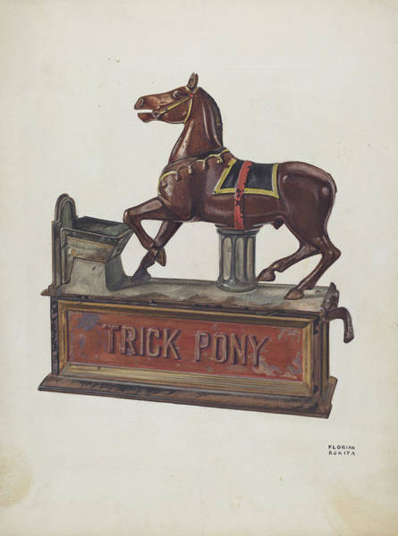 Wall Art - Drawing - Toy Bank - Trick Pony by Florian Rokita