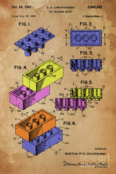 Wall Art - Digital Art - Toy Blocks Patent, Color Blocks On Vintage Background by Drawspots Illustrations