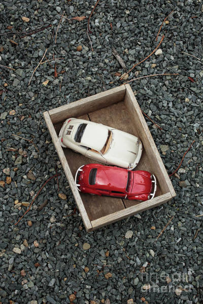Box Car Photograph - Toy Cars In Wooden Box by Edward Fielding