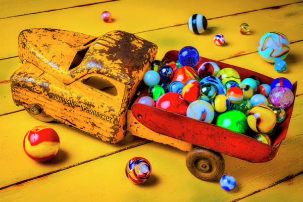 Dump Truck Photograph - Toy Dump Truck With Marbles by Garry Gay