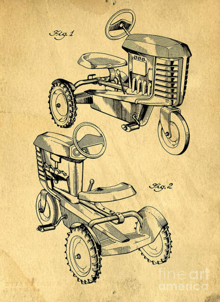 Ink Photograph - Toy Tractor Patent Drawing by Edward Fielding