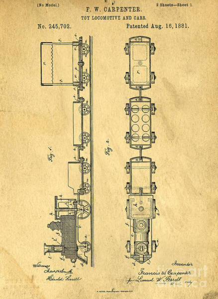 Wall Art - Drawing - Toy Train Original Vintage Patent Art by Edward Fielding