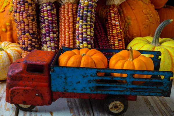 Wall Art - Photograph - Toy Truck And Pumpkins by Garry Gay