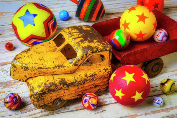 Wall Art - Photograph - Toy Truck With Balls And Marbles by Garry Gay
