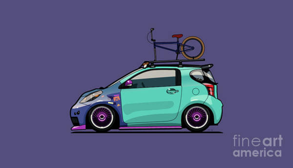 Wall Art - Digital Art - Toyota Scion Iq Slammed With Bmx Bike by Monkey Crisis On Mars