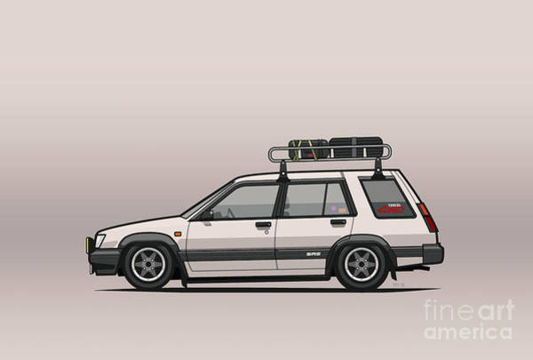Wagon Digital Art - Toyota Tercel Sr5 4wd Slammed Wagon Al25 White by Monkey Crisis On Mars