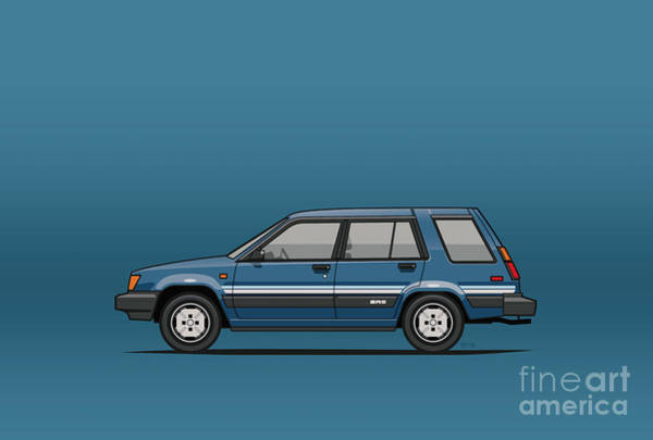 Wagon Digital Art - Toyota Tercel Sr5 4wd Wagon Al25 Blue by Monkey Crisis On Mars