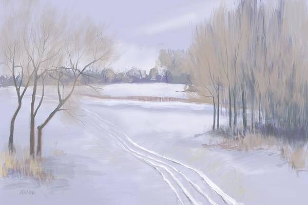Snow Fence Digital Art - Tracks In The Snow by Jeanne Cutler