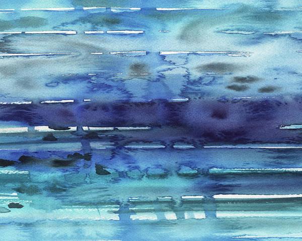 Ultramarine Blue Painting - Abstract Seascape Reflections by Irina Sztukowski