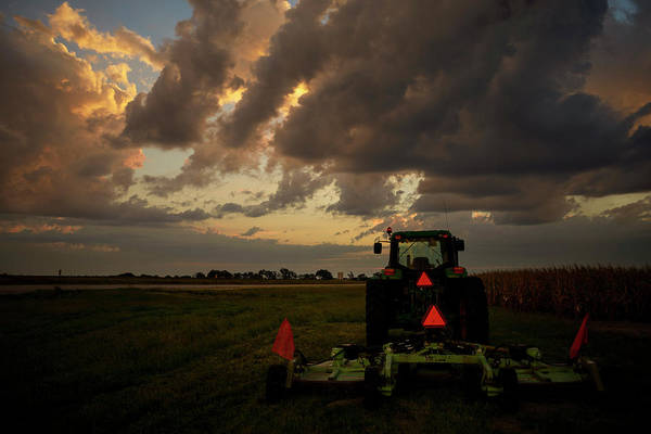 Photograph - Tractor At Sunrise - Chester Nebraska by Art Whitton