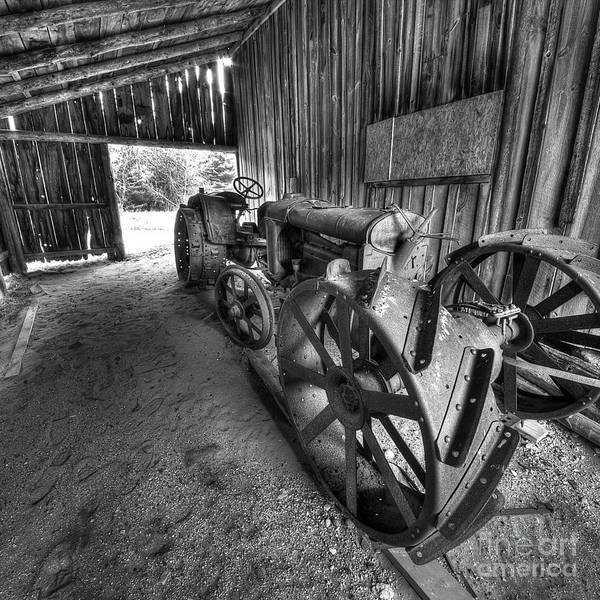 White Barn Photograph - Tractor In Barn by Twenty Two North Photography