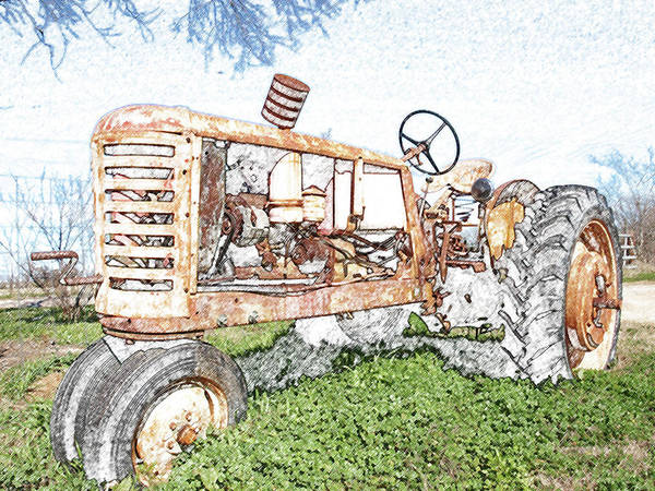 Digital Art - Tractor In Color Pencil by James Granberry