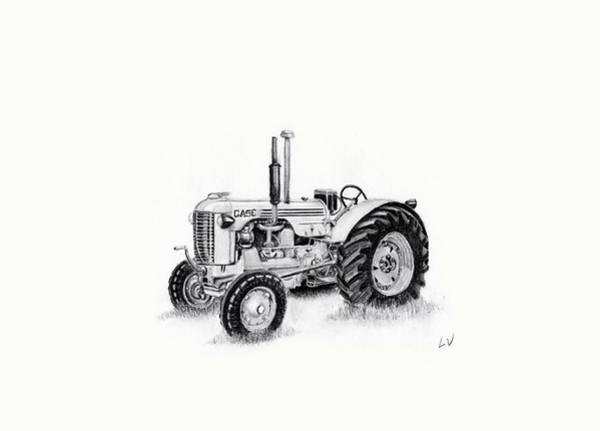 Old Tractor Drawing - Case Tractor by Lynette Vinck
