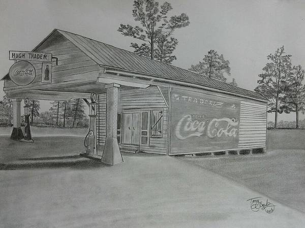 Gas Station Drawing - Traders by Tony Clark