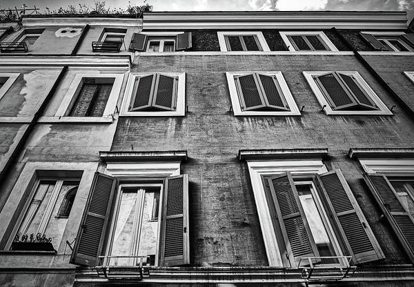 Photograph - Traditional Facade Of Roman House In Black And White by Fine Art Photography Prints By Eduardo Accorinti